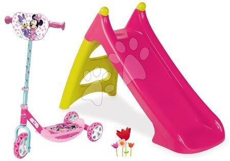 Minnie Mouse - Set skluzavka malá Toboggan XS růžová Smoby a koloběžka Minnie Disney tříkolová nastavitelná