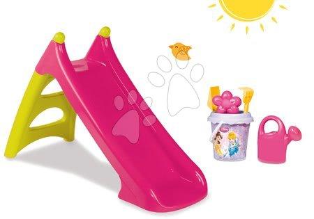 Set dětská skluzavka Toboggan XS Smoby růžová a kbelík set Disney od 24 měsíců