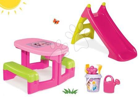 Set detský stôl Minnie Piknik a šmykľavka Minnie Toboggan XS s vedro setom Daisy od 2 rokov