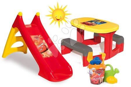 Set detský stôl Autá Piknik Smoby a šmykľavka Autá Toboggan XS dĺžka 90 cm s vedro setom Autá od 2 rokov