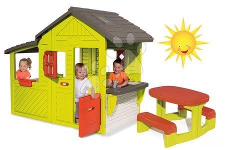 Set detský domček Záhradník Maison Neo Floralie Smoby a piknikový stôl