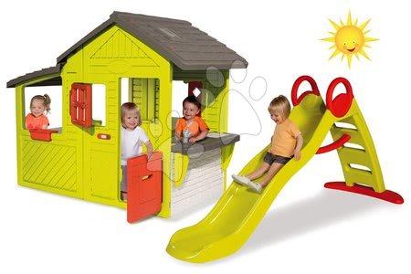 Set domček pre deti Maison Neo Floralie Smoby a šmykľavka Toboggan Funny s dĺžkou 2 m