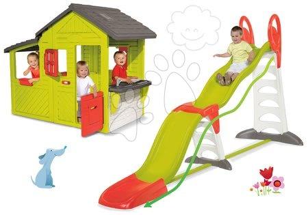 Set dětský domeček Maison Neo Floralie Smoby a skluzavka Toboggan Super Megagliss 2v1