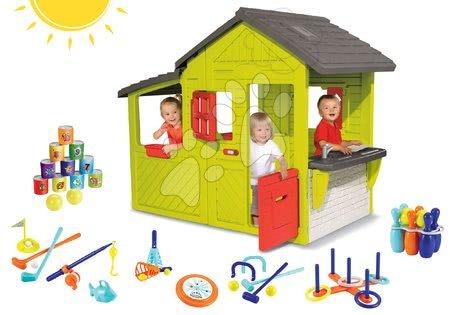 Set domeček pro děti Maison Neo Floralie Smoby, sportovní sada 7 her a plechovkové pyramida