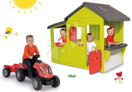 854fa5118bce lek na uspokojenie dla niemowląt Novinka Set domček Záhradník Neo Floralie  Smoby s kuchynkou a červený traktor s prívesom