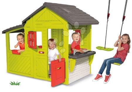 Set căsuţă Grădinar Neo Floralie Smoby cu bucătărie şi leagăn de agățat Activity Swing