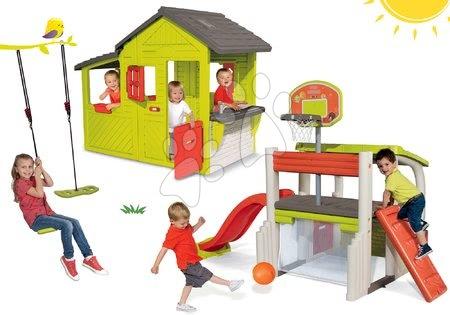 - Szett házikó Kertész Neo Floralie Smoby konyhácskával és játszócenter Multisport Fun Center csúszdával és hinta
