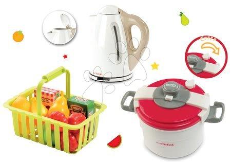 Spotřebiče do kuchyňky - Set tlakový hrnec Mini Tefal Smoby rychlovarná konvice Tefal a košík s ovocem