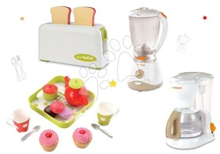 Spotřebiče do kuchyňky - Set toaster Mini Tefal Smoby kávovar Tefal, mixér Tefal a čajový set Cheef Cook
