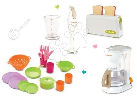 Spotřebiče do kuchyňky - Set toaster Mini Tefal Smoby a kávovar, ponorný mixér a jídelní souprava Bubble Cook