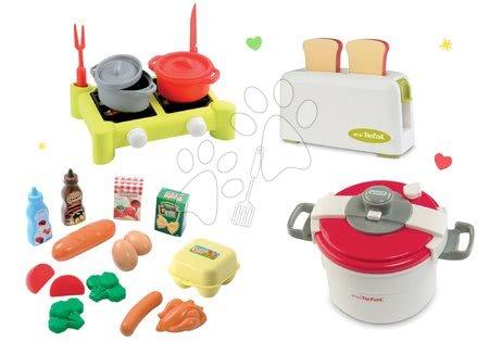 Spotřebiče do kuchyňky - Set toaster Mini Tefal Smoby a tlakový hrnec, potraviny v síťce a vařič s hrnci