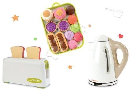 Spotřebiče do kuchyňky - Set toaster Mini Tefal Smoby rychlovarná konvice Tefal a koláčky na podnose