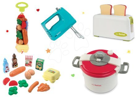 Spotřebiče do kuchyňky - Set toaster Mini Tefal Smoby ruční mixér, tlakový hrnec a potraviny v síťce