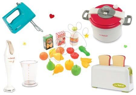Spotřebiče do kuchyňky - Set toaster Mini Tefal Smoby a ruční mixér, tlakový hrnec, ponorný mixér a potraviny