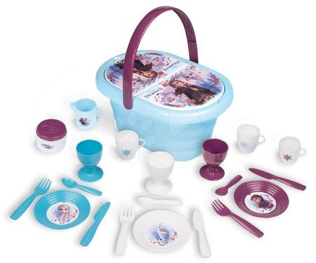 Riadíky a doplnky kuchynky - Košík s obedovou súpravou a pohármi Frozen 2 Disney Smoby s 21 doplnkami