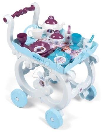Riadíky a doplnky kuchynky - Servírovací vozík Frozen 2 Disney XL Tea Trolley Smoby so 17 doplnkami