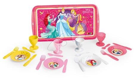 Servírovacia tácka Disney Princezné Smoby s čajovou súpravou a koláčikmi 16 kusov