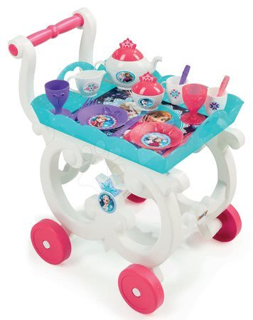 Servírovací vozík s čajovou súpravou Disney Frozen Smoby 17-dielny akvamarínový