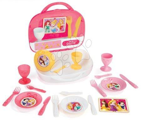 Obedová súprava v kufríku Disney Princezné Smoby s koláčikmi 19 kusov