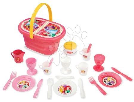 Riadíky a doplnky kuchynky - Obedová súprava v košíku Disney Princezné Smoby s 24 doplnkami