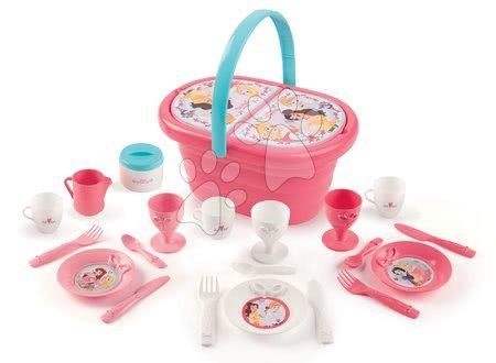 Riadíky a doplnky kuchynky - Košík s obedovou súpravou Princezné Picnic Basket Smoby s 21 doplnkami