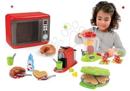 Spotřebiče do kuchyňky - Set mikrovlnka elektronická Tefal Elec Micro Wave Smoby a vaflovač s mixérem kávovarem a vaflemi