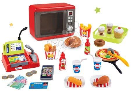 Spotřebiče do kuchyňky - Set mikrovlnka elektronická Tefal Elec Micro Wave Smoby a potraviny rychlého občerstvení Fast Food
