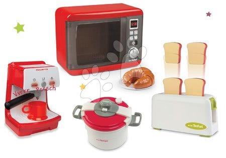 Spotřebiče do kuchyňky - Set mikrovlnka elektronická Tefal Elec Micro Wave Smoby a kávovar Rowenta s toustovačem a tlakovým hrncem