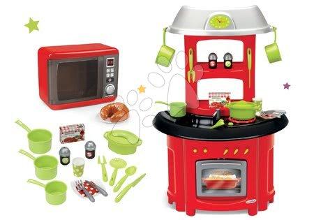 Spotřebiče do kuchyňky - Set mikrovlnka elektronická Tefal Elec Micro Wave Smoby a kuchyňka Chef Stove