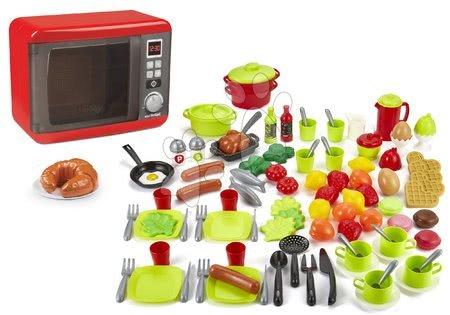Spotřebiče do kuchyňky - Set mikrovlnka elektronická Tefal Elec Micro Wave Smoby a 100dílná sada ovoce zeleniny a potraviny s nádobím