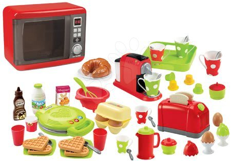 Spotřebiče do kuchyňky - Set mikrovlnka elektronická Tefal Elec Micro Wave Smoby a topinkovač s vajíčky vaflovač s vaflemi a kávovar s kapslemi