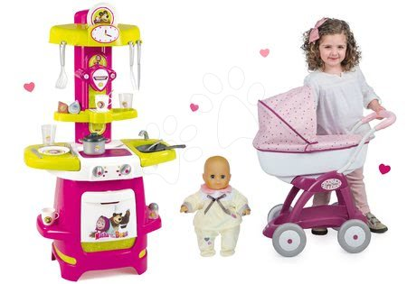 Set kuchyňka Máša a medvěd Smoby hluboký kočárek pro panenku (58 cm rukojeť) a panenka s šatičkami od 18 měsíců