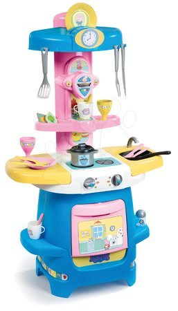 Peppa Pig - Játékkonyha kávéfőzővel Peppa Pig Cooky Smoby nyitható munkafelülettel, sütővel és 22 kiegészítővel 85 cm magas 18 hótól