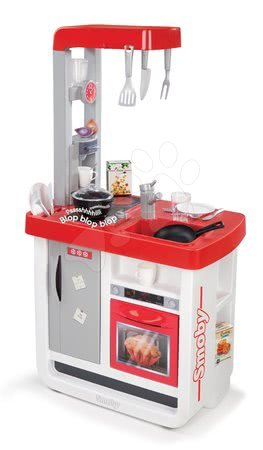 Detská kuchynka Bon Appétit Smoby elektronická so zvukmi, s kávovarom a 23 doplnkami červeno-strieborná