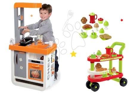 Obyčejné kuchyňky - Set kuchyňka Bon Appétit Chef Smoby s chladničkou a kávovarem a vozík se snídaní 100% Chef