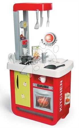 Kuchynka Bon Appetit Red&Green Smoby elektronická s kávovarom zvukmi a svetlom a 23 doplnkami červená