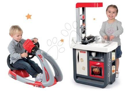 Set kuchyňka Gourmande s chladničkou a kávovarem Smoby a trenažér V8 Driver se zvukem a světlem