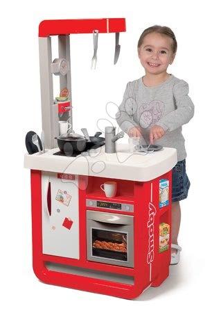 Detské kuchynky - Kuchynka elektronická Bon Appetit Smoby červená zvuková s chladničkou kávovarom a 23 doplnkov_1