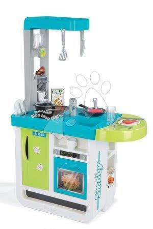 Kuchyňka Cherry elektronická se zvuky Smoby s jídelním pultem, kávovarem, 25 doplňků tyrkysově-zelená