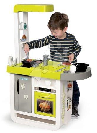 Detské kuchynky - Kuchynka Cherry Smoby elektronická so zvukmi, s opečenými potravinami a kávovarom s 25 doplnkami zeleno-šedá_1