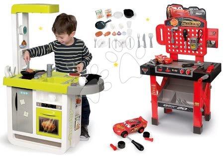 Akce - Set kuchyňka elektronická Cherry Smoby se zvuky, pracovní dílna Auta 3 s otáčecí plochou