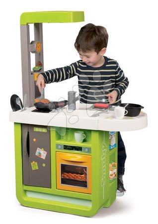 Detské kuchynky - Kuchynka elektronická Cherry Smoby kiwi zvuková s jedálenským pultom magickými potravinami a 25 doplnkov_1