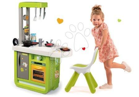 Detské kuchynky - Set kuchynka Cherry Smoby so zvukmi a stolička pre deti KidChair