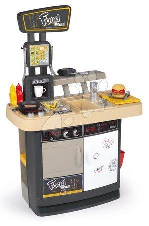 Detské kuchynky - Reštaurácia s kuchynkou Food Corner Smoby obojstranná s terminálom a dávkovačom nápojov 29 doplnkov