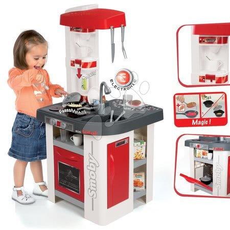 Detská kuchynka Tefal Studio Smoby elektronická so zvukmi, so sódovačom, opečenými potravinami a 27 doplnkami červeno-biela