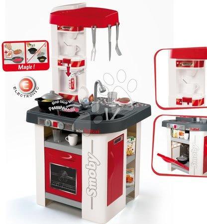 Detské kuchynky - Kuchynka Tefal Studio Smoby elektronická so zvukmi, so sódovačom, opečenými potravinami a 27 doplnkami červeno-biela_1