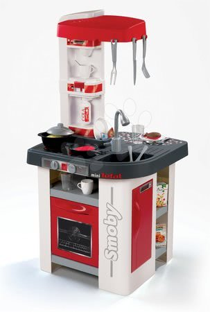 Detské kuchynky - Kuchynka Tefal Studio Smoby elektronická so zvukmi, so sódovačom, opečenými potravinami a 27 doplnkami červeno-biela