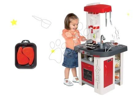 Detské kuchynky - Set kuchynka elektronická Tefal Studio Smoby červeno-biela so sódovkou a plátky mäsa ako darček
