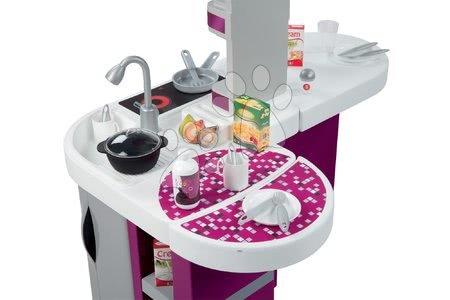 Detské kuchynky - Kuchynka Tefal Studio XL Smoby elektronická so zvukmi, s jedálňou, chladničkou a 36 doplnkami fialovo-strieborná_1