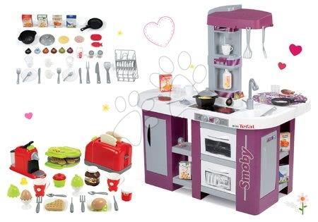 Elektronické kuchynky - Set fialová kuchynka Tefal Studio XL Smoby so zvukom, umývačkou riadu a hriankovač s vaflovačom